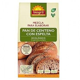 Mezcla para elaborar pan de centeno con espelta, 509g. Biográ