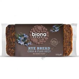 Pan de Centeno con Chía y Semillas de Lino, 500g Biona