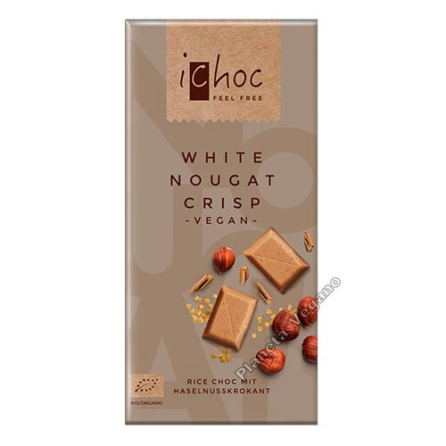 Chocolate Vegano de Turrón Blanco Crujiente, 80 g. Ichoc