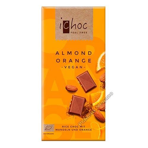 Chocolate Vegano con Almendras y Naranja, 80 g. Ichoc