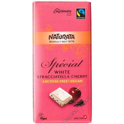 Chocolate Blanco con Stracciatella y Cereza, 100g. Naturata