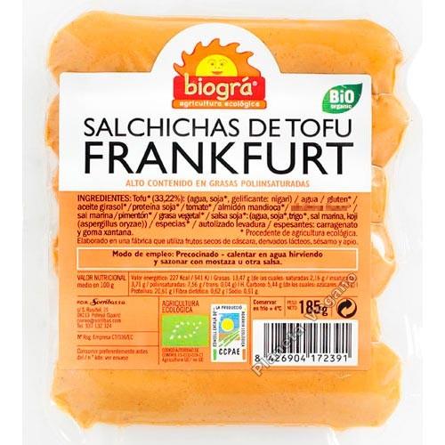 Salchichas de Tofu Frankfurt Cortas, 185 g Biográ