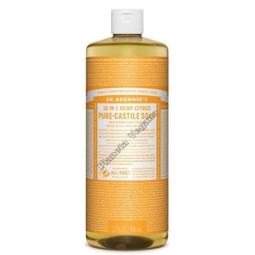 Gel de Baño todo en uno con Naranja, 945 ml. Dr. Bronner´s