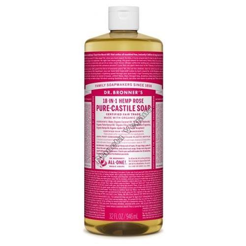 Gel de Baño todo en uno con Rosas, 945 ml. Dr. Bronner´s