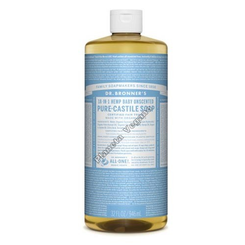 Gel de Baño todo en uno Neutro, 945 ml. Dr. Bronner´s