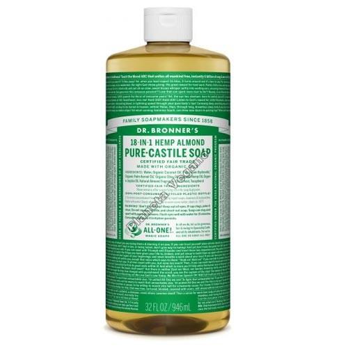 Gel de Baño todo en uno con Almendra, 945 ml. Dr. Bronner´s