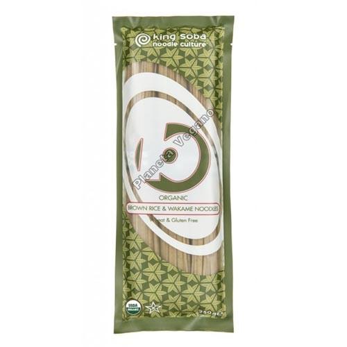 Noodles de Arroz Integral y Wakame, 250g. King Soba