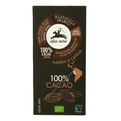 Chocolate Negro Ecológico 100% Cacao, 50g. Alce Nero