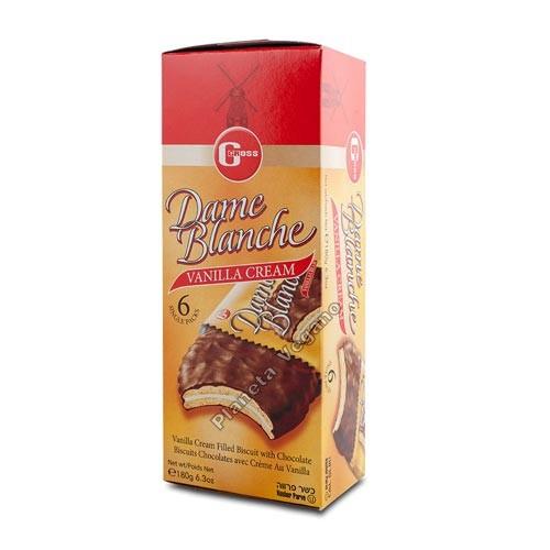 Galletas Mini Sandwich de Chocolate con Vainilla Dame Blanche, 6x30g. Gross