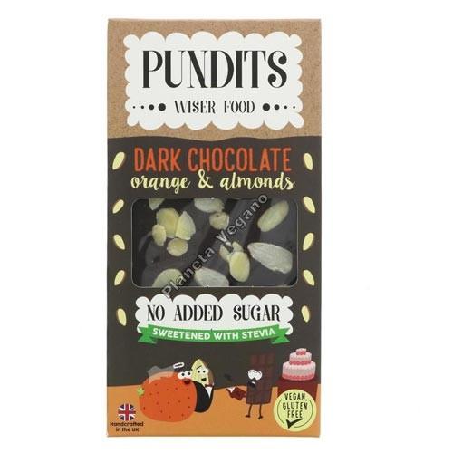 Chocolate Negro Sin Azúcar con Naranja y Almendras, 100g. Pundits