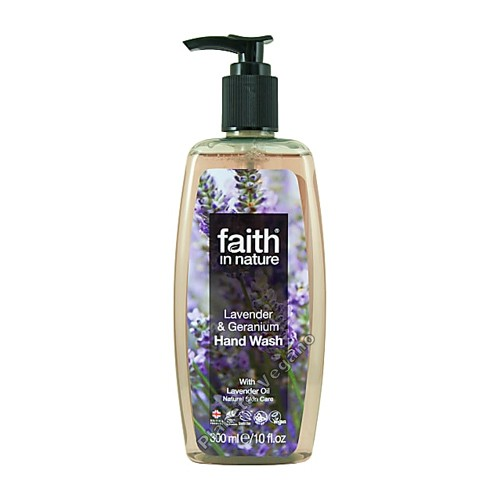 Jabón de Manos de Lavanda y Geranio, 300 ml. Faith in Nature