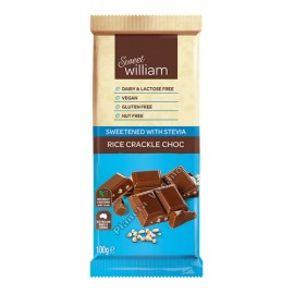 Chocolate de Arroz Inflado con Estevia, 100g. Sweet William