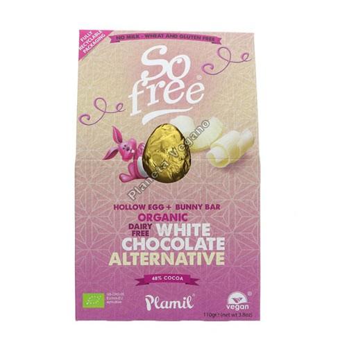 Huevo de Pascua de Chocolate Blanco Vegano, 110g So Free