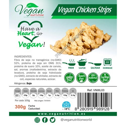 Tiras de Pollo Vegano, 300g. Vegan Nutrition