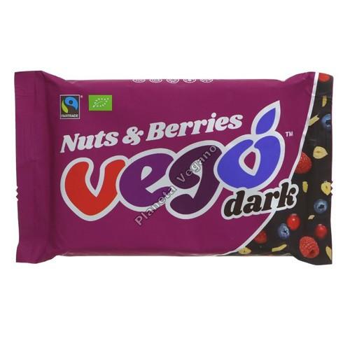Barra de chocolate Negro con Frutos Secos y Frutos Rojos, 85g. Vego