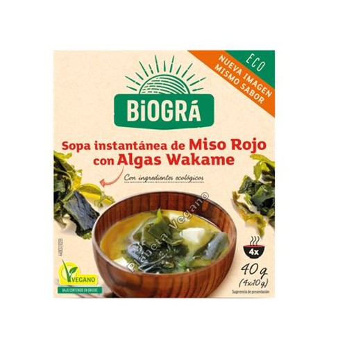 Sopa de Miso Rojo con Algas Wakame, 40g. Biográ