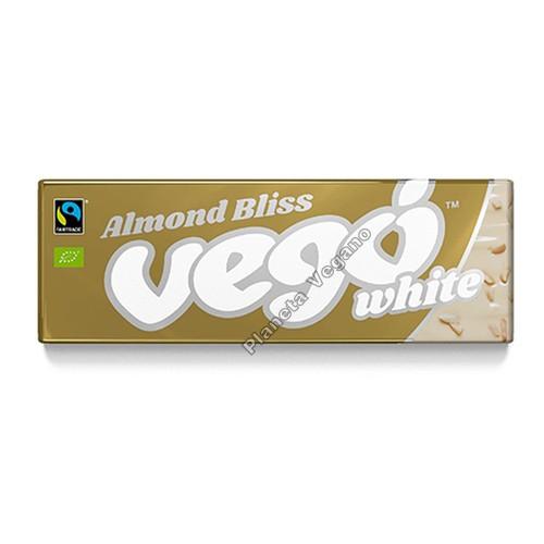 Chocolatina de Cacao Blanco con Almendras, 50g. Vego