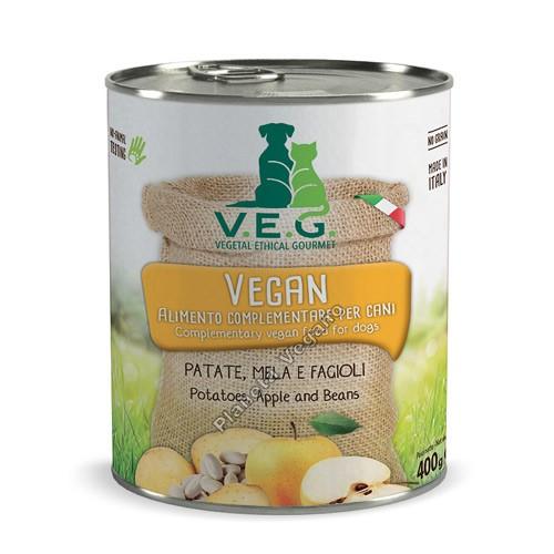 Pienso Vegano Humedo para Perros de Patatas, Manzana y Alubias, 400g. V.E.G.