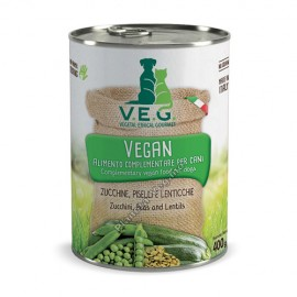 Pienso Vegano Humedo para Perros de Calabacin, Guisantes y Lentejas, 400g. V.E.G.