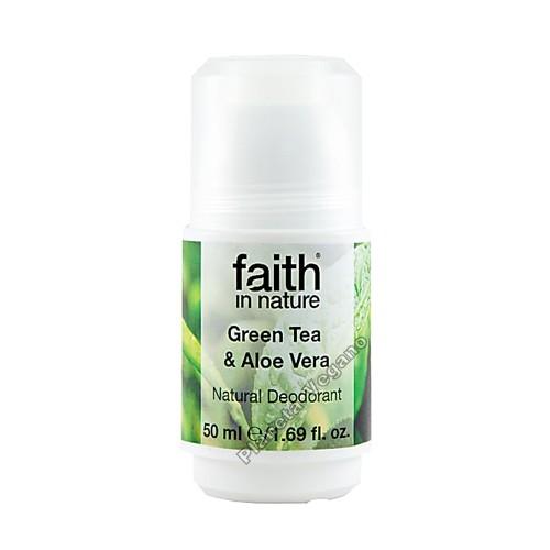 Desodorante Ecológico Roll-On Aloe Vera y Té Verde, 50 ml. Faith in Nature