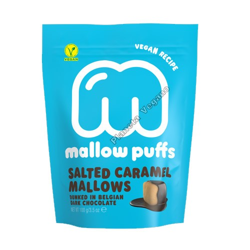 Nubes (Marshmallows) de Caramelo cubiertos de Chocolate Negro, 100g. Mallow Puffs
