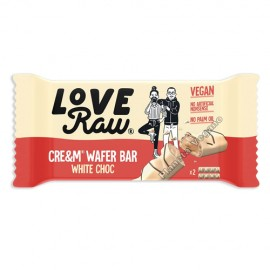 Barrita Chocolate Blanco Relleno con Crema de Avellanas y Almendras (Wafer Bars), 45 g. Love Raw
