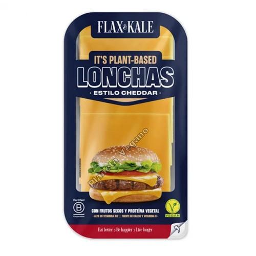 Queso Vegano Cheddar en LONCHAS, 100g. Flax&Kale
